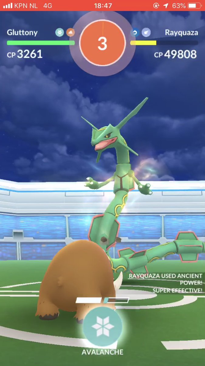 Tried to solo a Weather Boosted Rayquaza for fun, did quite well! 👍 #PokemonGO