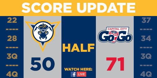 Halftime | Mad Ants 50, Go-Go 71 @EdmondSumner with 14 points and 3 assists @ClutchREED_5 with 10 points and 3 rebounds @AlizeJohnson with 6 points and 11 rebounds #MadAboutBlue