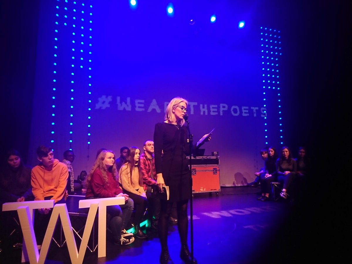 Such a brilliant event to be part of #TheWordsThatBindUs @stpatricksfest @axisBallymun with talented young poets from @TrinityCompLib performing alongside  @SJSwords  @LeylaJosephine1 @SarahCrossan @johncummins1973​ @FeliSpeaks​  @dondagz #WeAreThePoets