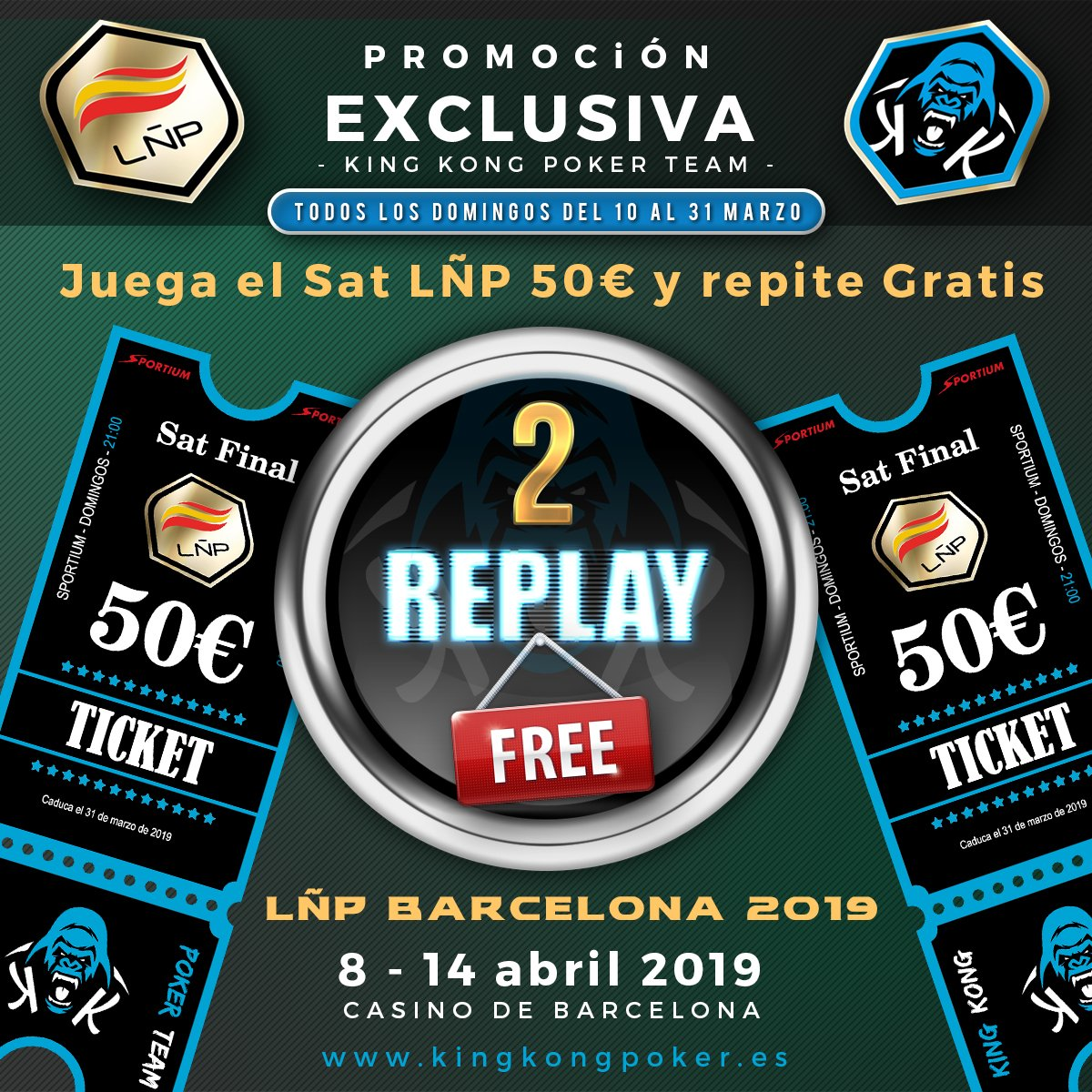 🚨 SUPER PROMO #2REPLAYFREE 50€ 🚨  #RoadTo #LÑP4 Barcelona @ligaESpoker  🔊 DOMINGO, 🕘 21:00 en al Sat 50€ 💶 LÑP @sportium , regalaremos DOS tokens 🎟️de 50€ a los 2 mejores 🦍#KinKones clasificados que no obtengan premio #BurbujaKinKon  🔽Info http://kingkongpoker.es/promociones-liga-espanola-poker/…