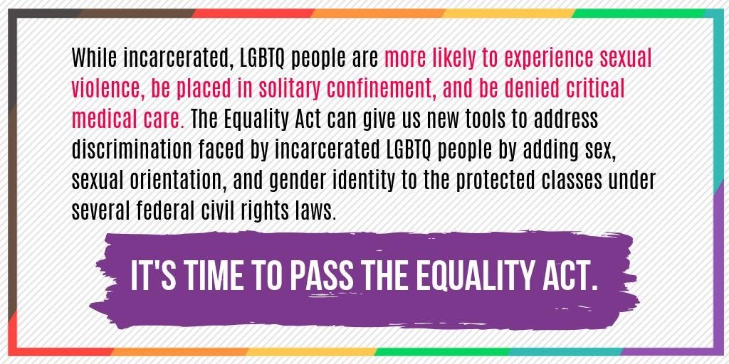 Some of the most hurtful and violent forms of discrimination #LGBTQ people experience is while in the criminal legal system. The #EqualityAct will give us protections to address such discrimination and drivers of LGBTQ criminalization. http://bit.ly/EqualityActCJR
