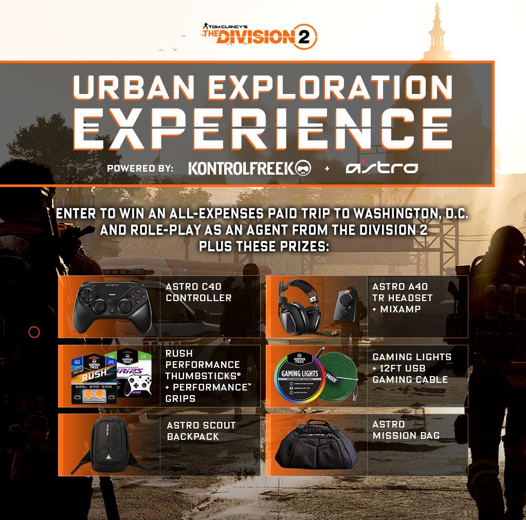 In celebration of the launch of #TheDivision2 we've teamed up with @KontrolFreek to bring you the chance to win a trip to DC, along with a supply drop of new gear.  Like, RT, & Enter to Win at https://astro.family/2Cnxdzn
