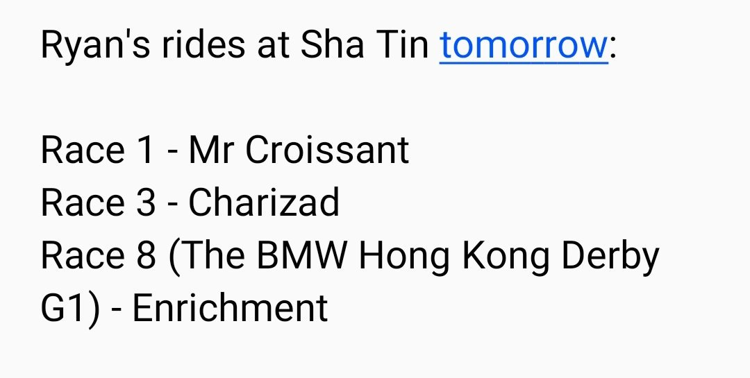 3 rides for Ryan tomorrow at Sha Tin #ryanmoore <br>http://pic.twitter.com/LVe3OEojEu