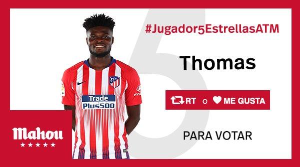 RT o Me Gusta si crees que Thomas ha sido el #Jugador5EstrellasATM del partido del @Atleti ante el Athletic. #AthleticAtleti