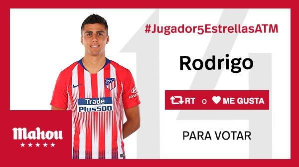 RT o Me Gusta si crees que Rodrigo ha sido el #Jugador5EstrellasATM del partido del @Atleti ante el Athletic. #AthleticAtleti