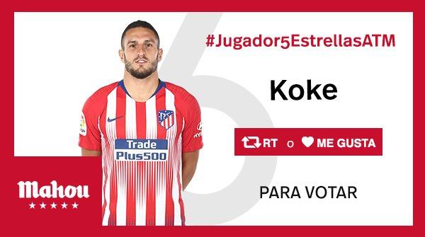 RT o Me Gusta si crees que Koke ha sido el #Jugador5EstrellasATM del partido del @Atleti ante el Athletic. #AthleticAtleti