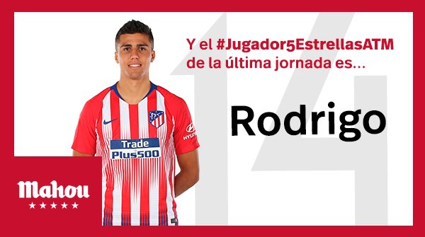 El #Jugador5EstrellasATM del @Atleti de esta jornada es... Rodrigo