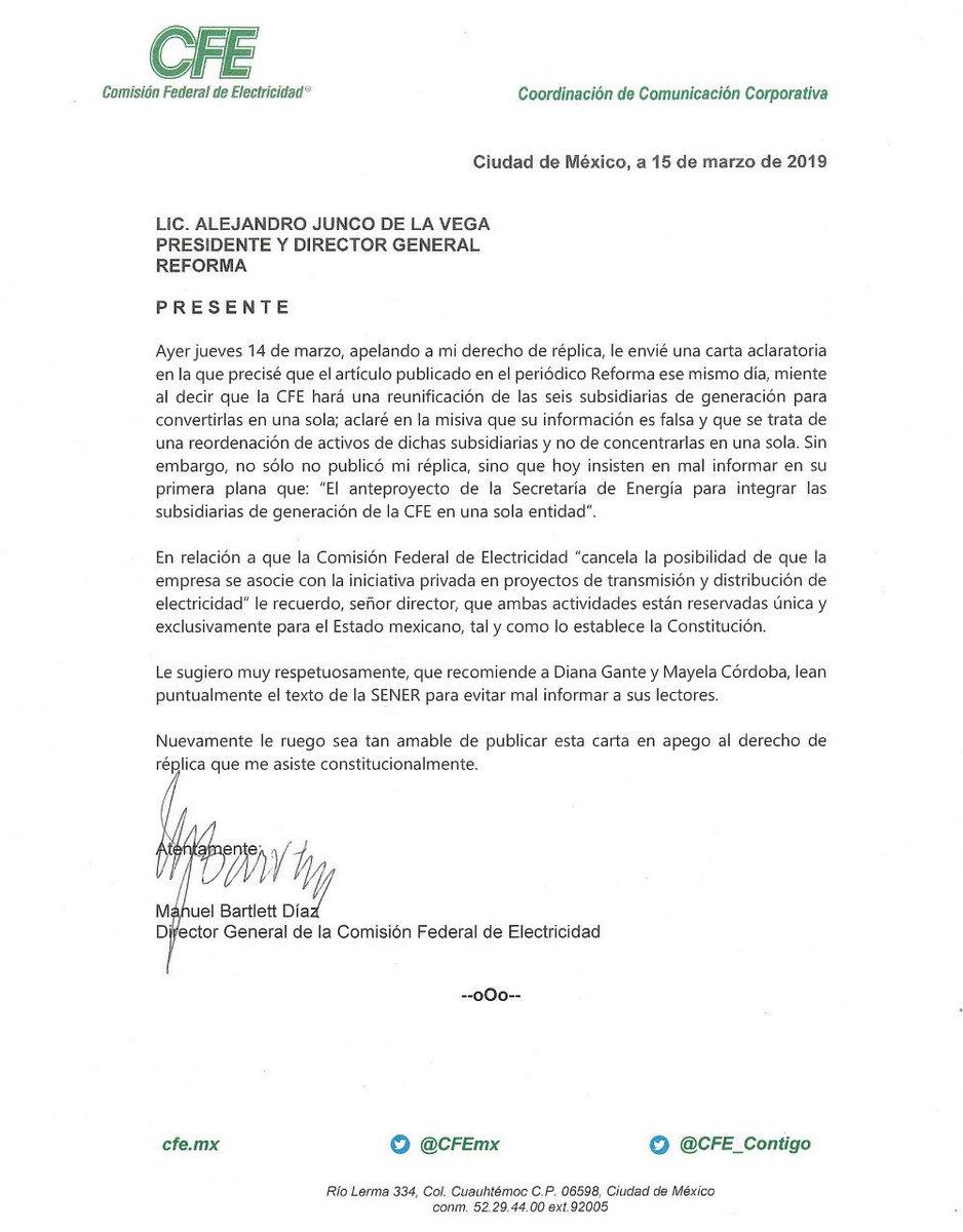 En dos ocasiones, envié al periódico @Reforma una carta aclaratoria en la que desmentí un artículo de este diario que señala que @CFEmx reunificará a sus 6 subsidiarias de generación; sin embargo, nuevamente no fue publicada, violando con ello mi derecho constitucional de réplica