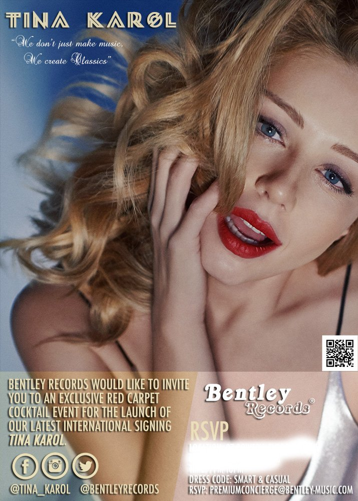 Special red carpet launch event tonight for our latest international signing @Tina_Karol  RSVP strictly only for industry participants! Email: premiumconcierge@bentley-music.com #TinaKarol #BentleyGang #BentleyRecords #Events #HipHop #Rap #Pop #EDM #Music #RecordLabel