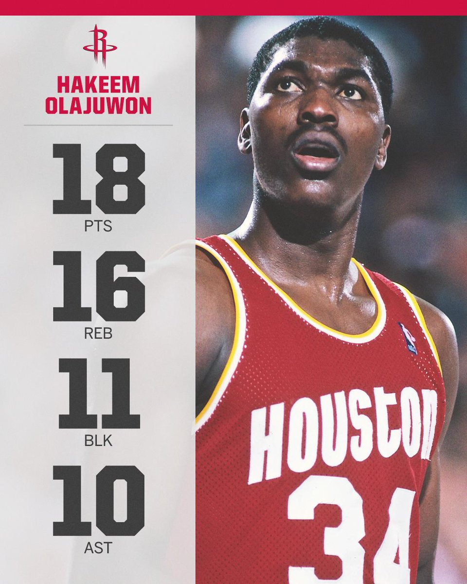 On This Date: 29 years ago, Hakeem Olajuwon recorded the third ever quadruple-double 🚀