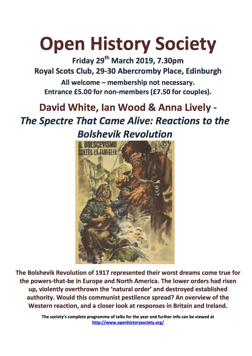 For anyone in Edinburgh, this is tonight at the Royal Scots Club at 7.30!