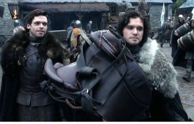 """Robb: """"Next time I see ya, you'll be all in black."""" Ned: """"The next time we see each other, we'll talk about your mother. I promise.""""  o the poignancy  it kills  #GameofThrones #GoTSeason1 <br>http://pic.twitter.com/ticaqOgbDC"""