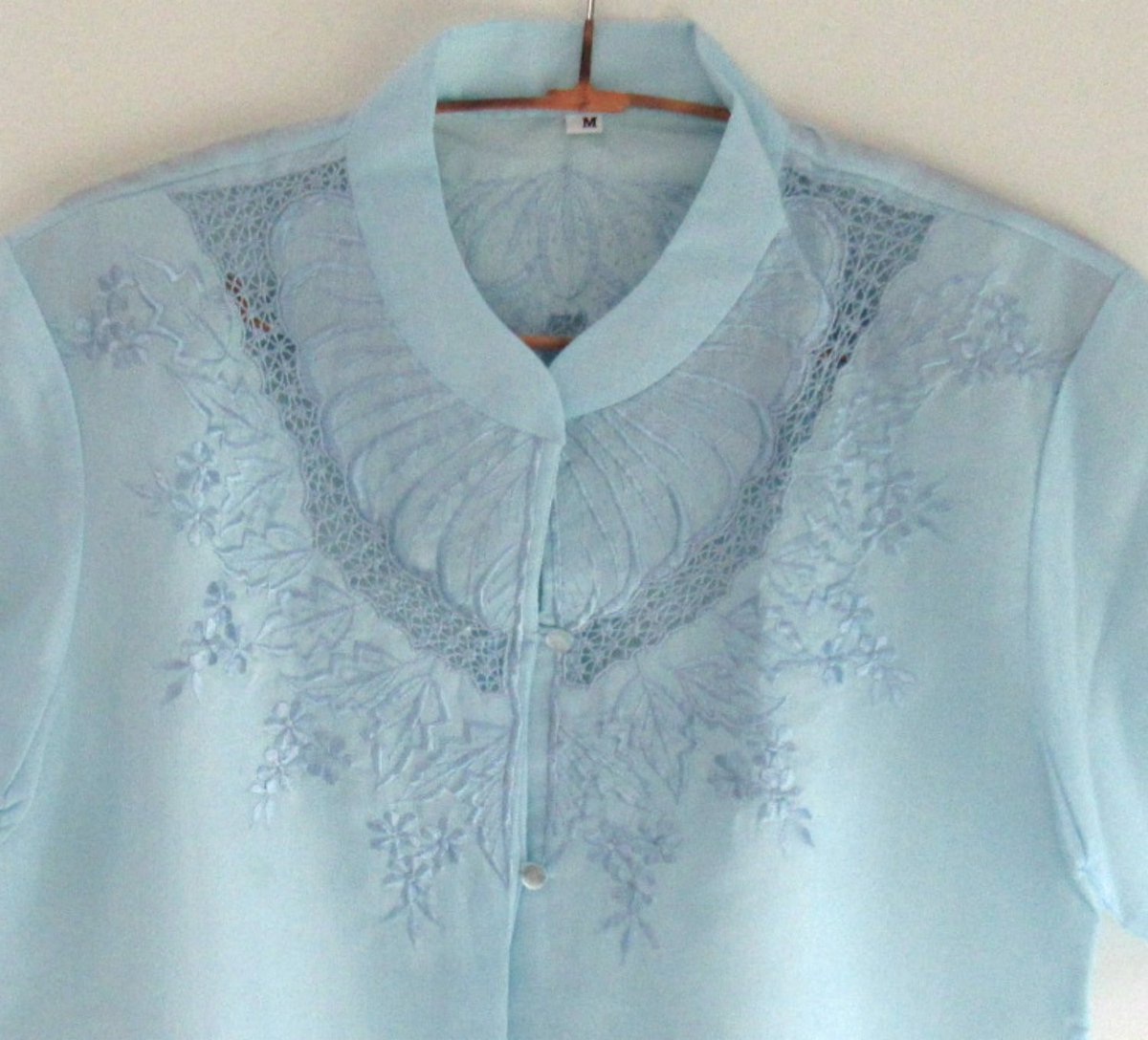 9b1aa89a Button Down Embroidered Blouse, Retro Short Sleeve #LadiesTop, Unused  vintage, Powder Blue Linen Blouse #clothing #women #blouse #blue  #Eastergifts ...