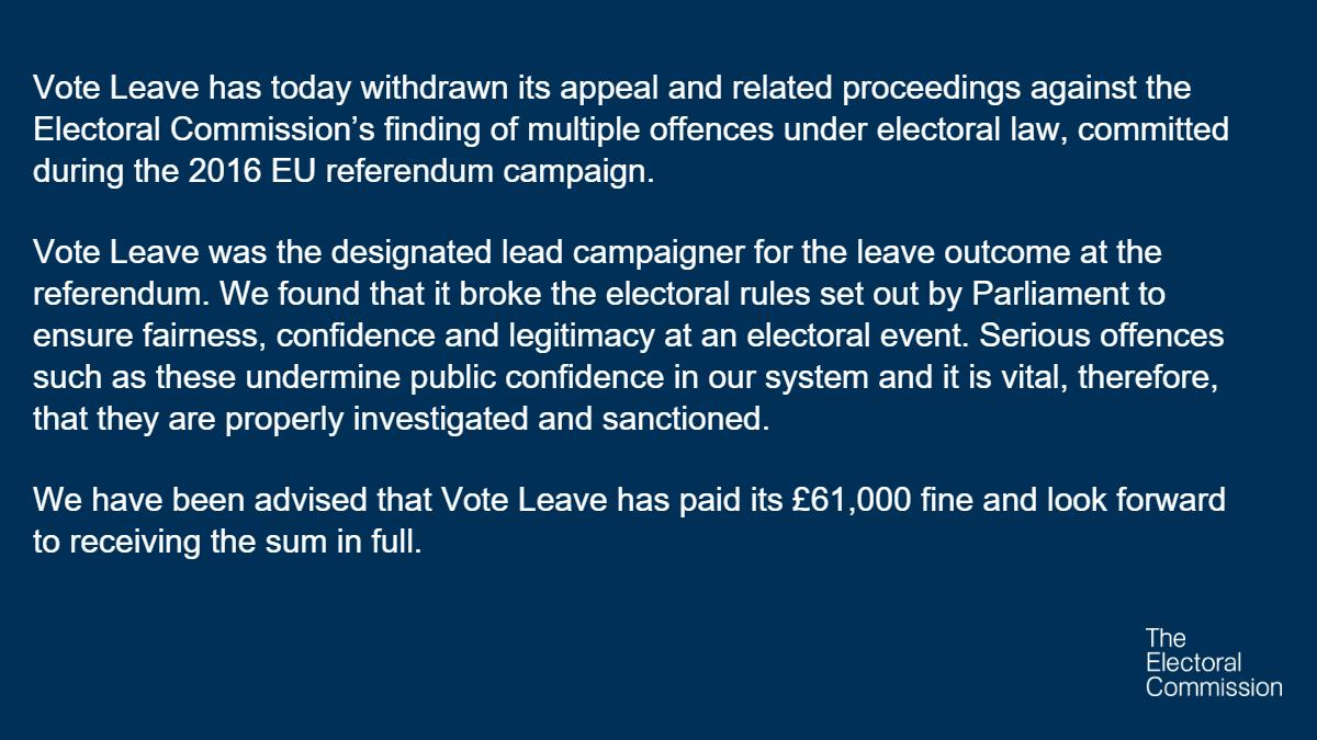 Vote Leave has today dropped its appeal and related proceedings against the Electoral Commission.