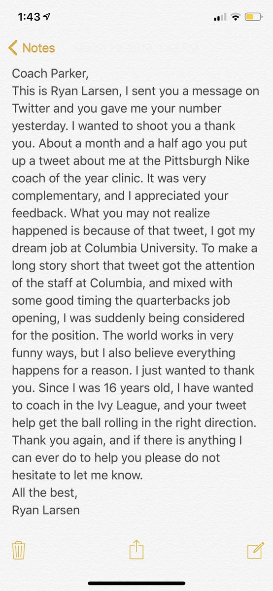 Our JV football coach, @G_Parker_ , went to a Nike clinic and snapped a picture of a presenter, thanking him. Little did he know that his tweet helped him land a dream job. Awesome