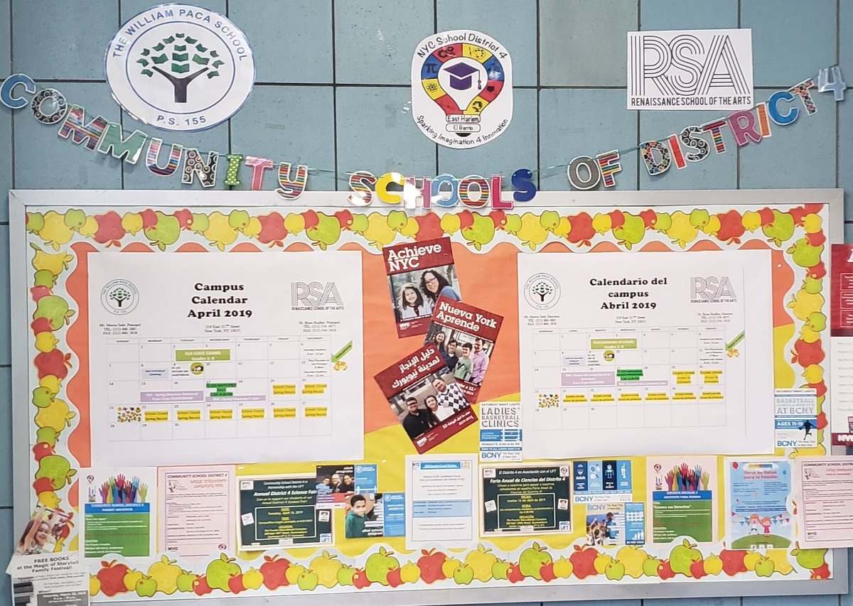 Keep in the know! Pass by and check our school campus community bulletin board. @CSD_4 @RSAMS377 @333MNBO @DOEChancellor @HeidiPierovich @aestrel3  #UnityintheCommunity  #pacapride  #district4 #CommunitySchools #elbarrio #eastharlem #gradeschools #3kforall #prekforall