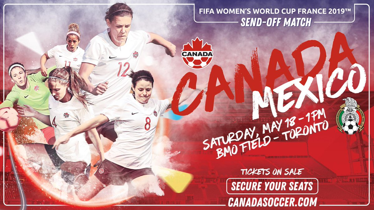Toronto! Be there to cheer on #CANWNT before the team heads to France for the FIFA Women's World Cup!  🇨🇦🇲🇽 📍 BMO Field, Toronto 🗓️ 18 May 🎟️ https://www1.ticketmaster.ca/event/10005666E8F96BA3?brand=canadasoccer…