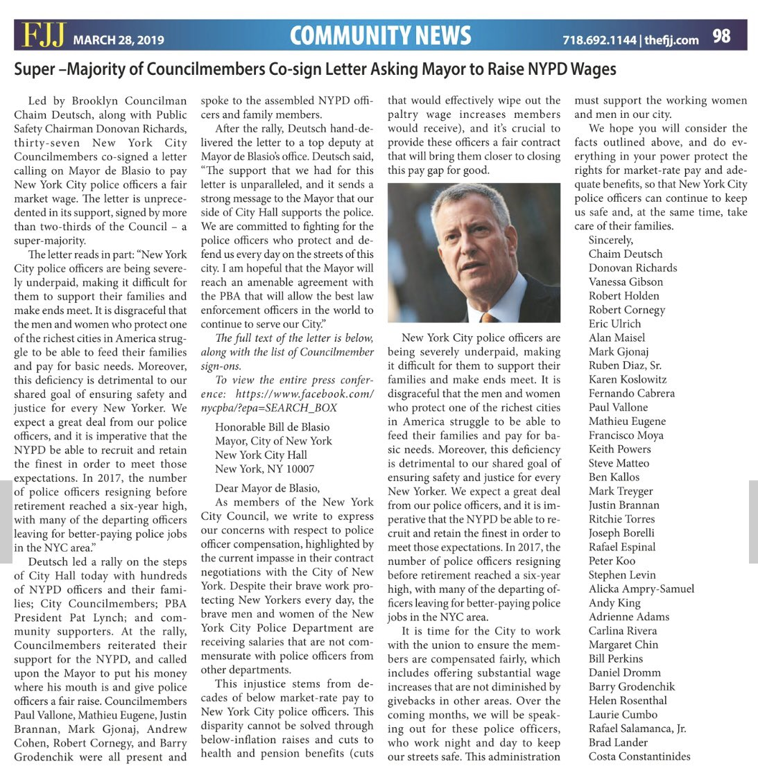 Councilman Deutsch On Twitter Thanks To The Flatbush Jewish Journal For Printing Our Letter To Nycmayor Calling For A Fair Market Wage For Nypd Officers Thanks To The Fjj For Highlighting The