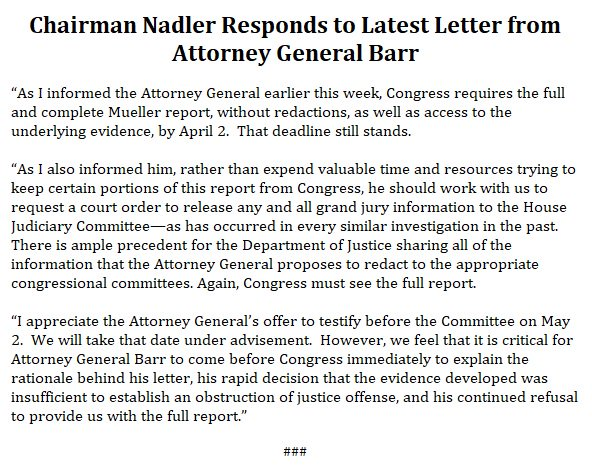 Rep Nadler On Twitter Read My Response To Ag Barr S