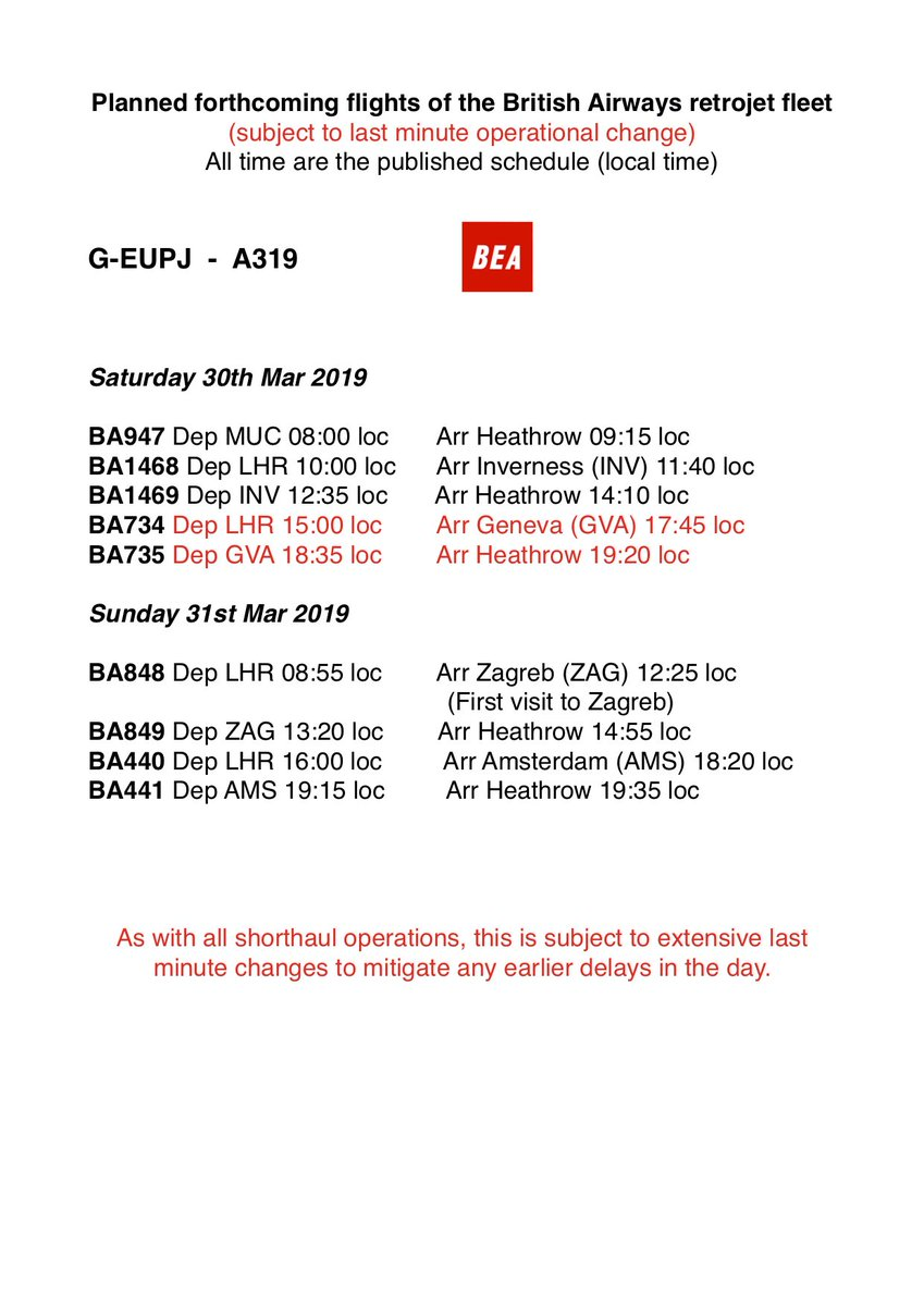 Latest changes including provisional first visit to Zagreb by BEA A319 on Sunday, but as always, subject to last minute operational changes.