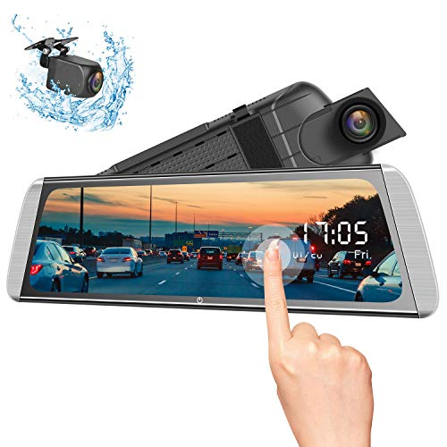 1080P 9.66 Full Touch IPS Screen Car DVR Stream Media Rear-View Mirror Monitor with Front and Rear Double Recorder HD Camera Waterproof Night Vision/&GPS Tracking