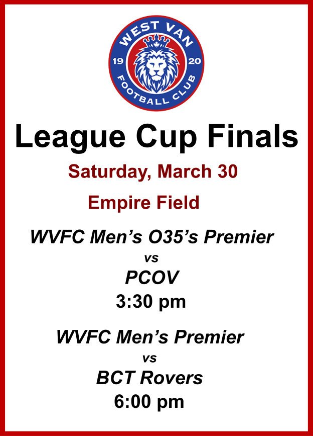 Listen Up! Our WVFC Men's Premier Team and the Men's O35 Premier Team are competing in the League Cup Finals tomorrow. Come out and support the men at Empire Turf. Go, WVFC! Congratulations for making it to the finals. ⚽😀 #WVFC #MensPremier #O35Premier