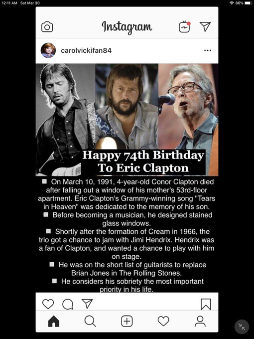 Happy Birthday! Eric Clapton, Celine Dion, Tracy Chapman and Warren Beatty!