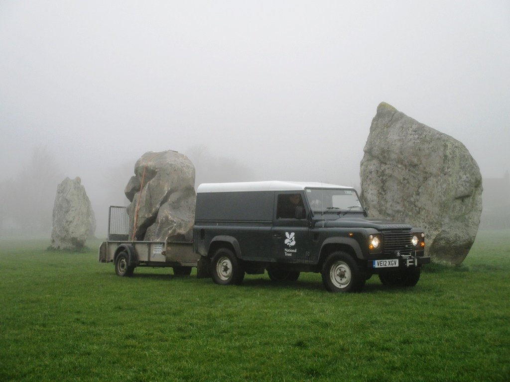 A busy day at all British henge sites, as staff work to move the stones forward an hour. Twice a year the stones at Avebury are moved for Daylight Saving Time.