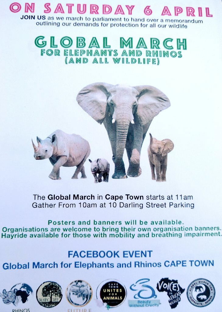 Global March for #Elephants & #Rhino Saturday 6th April from Cape town city centre. Join us!