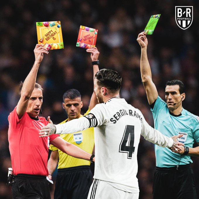 Happy 33rd birthday to Sergio Ramos, the man who loves a card
