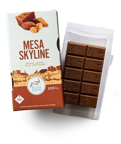 BLUE KUDU – MESA SKYLINE $40.00 - $80.00 Roasted almonds and toffee are mixed with creamy milk chocolate to get a flavor you will love! Enjoy a small piece and wait for the affects to kick in. Visit http://www.eshopmarijuana.com for further details.  #edibles #CBD #WeedLover #cannabis