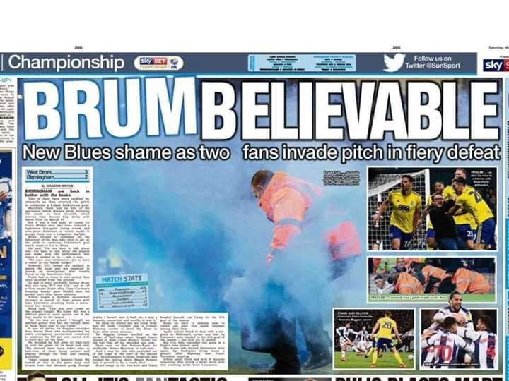 FUCK THE @EFL & FUCK THIS SHAMBLES OF A PAPER! @TheSun @TheSunFootball WHY NO MENTION OF THE 4 BAGGIES FANS THAT RAN ON THE PITCH?? FUCKING SCUM!