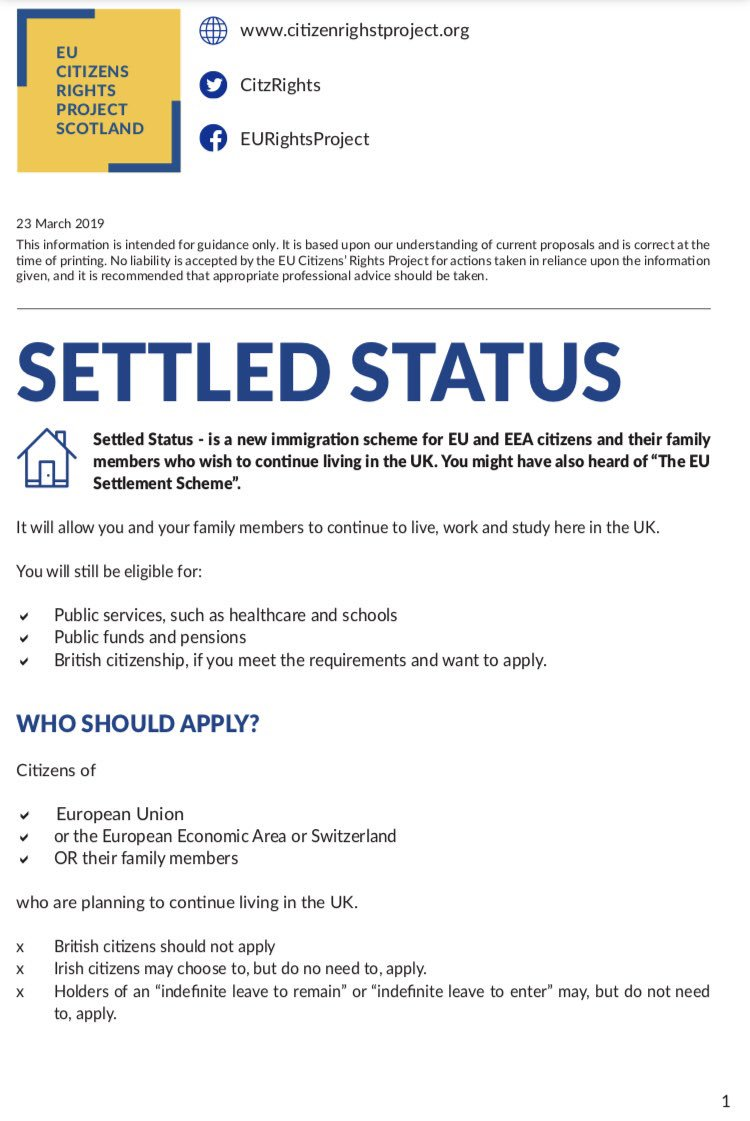 "➡️You can now apply for #settledstatus. Info in all #EU languages: https://www.gov.uk/guidance/settled-status-for-eu-citizens-and-their-families-translations …  ‼️No matter what scenario Brexit takes, you can still obtain ""settled status"". Our guide below explains how. It will be translated  Link to apply ➡️ https://www.gov.uk/settled-status-eu-citizens-families …"