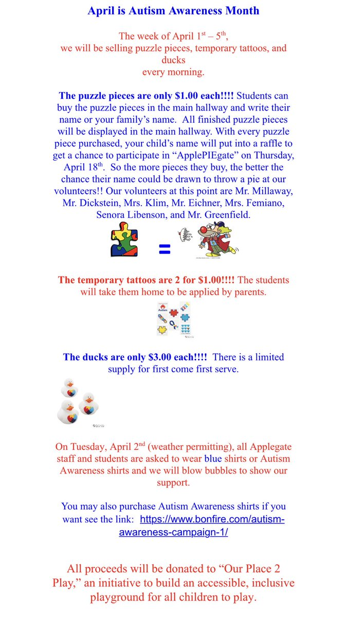 Applegate is all ready for Autism Awareness Month 💙 in April @CRA_Bulldogs. Check out our upcoming activities...