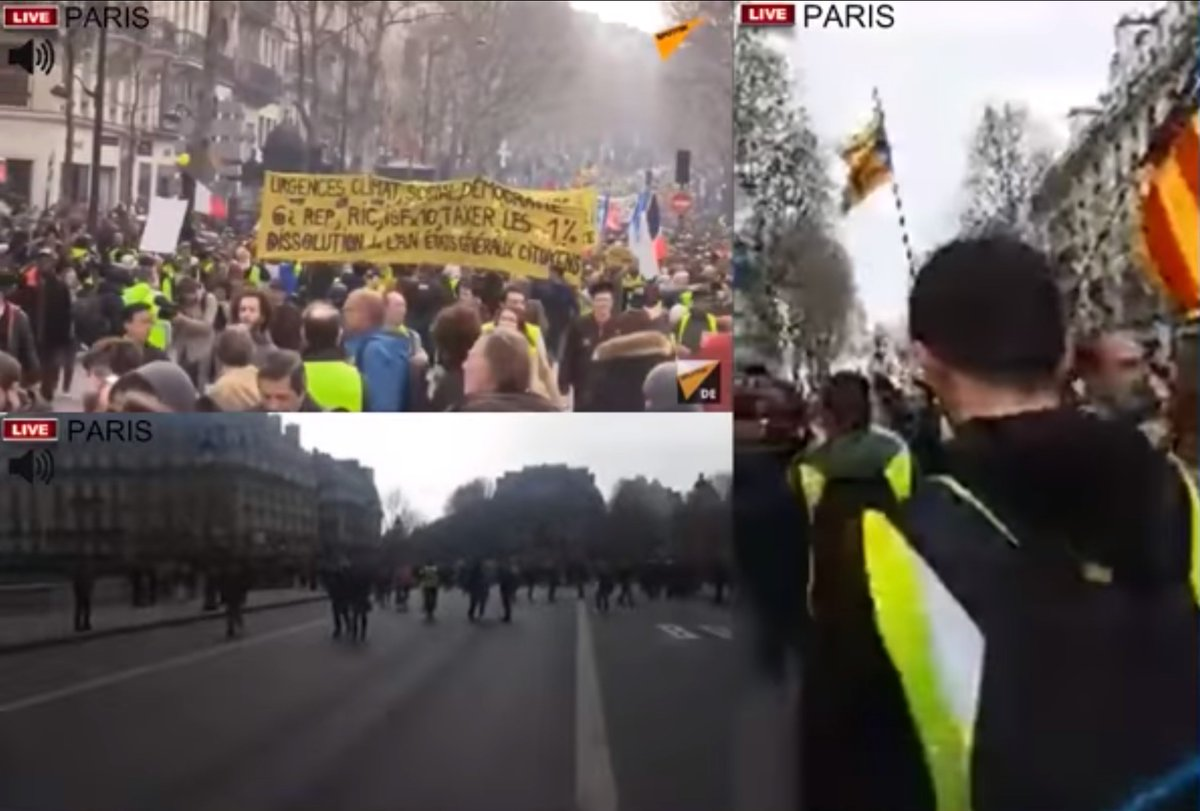 #acteXX  of the #giletsjaunes protests in progress now. These people are incredible. #MacronCompliceDuPire  #MacronDemission  Little banking twerp @EmmanuelMacron needs to take the hint and get lost.   https://www. youtube.com/watch?v=Go1W-B Am3CM&t=13247  … <br>http://pic.twitter.com/Gv9xxUUWpK
