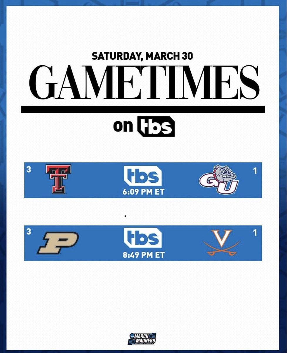For a ticket to the @FinalFour ! Purdue: Last F4-1980  Virginia: Last F4-1984  Join us from Louisville, KY, 8:49p ET on @tbsnetwork. Been a great ride with my teammates; @realchriswebber , @ALaForce & our entire crew led by Scott Cockerill & Andrew Greathouse in the truck.