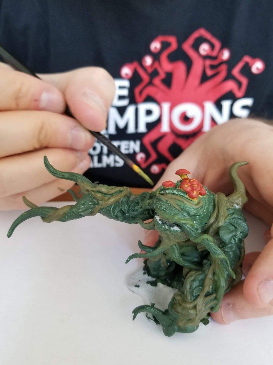 Our DM Matt is doing a little painting this weekend. Mini #2: a shambling mound! #DnD #dnd5e #ttrpg