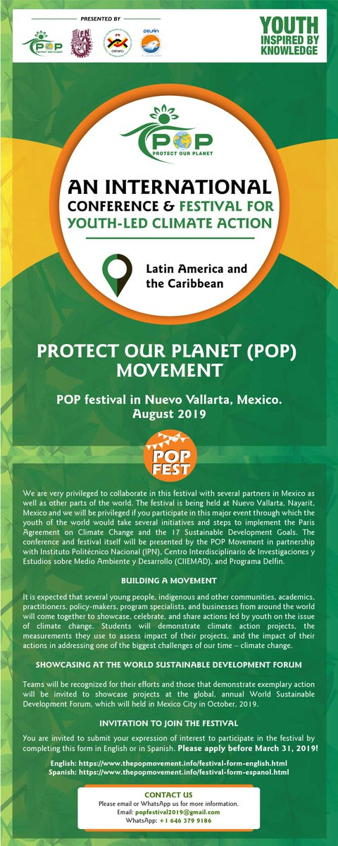 Join the POP Movement's International Conference & POP Festival. Take Action. Raise your Voices. Protect Our Planet. Submit your Projects TODAY! @GretaThunberg @enriquevazquezc @thePOP_Movement @earthguardianz @xiuhtezcatl