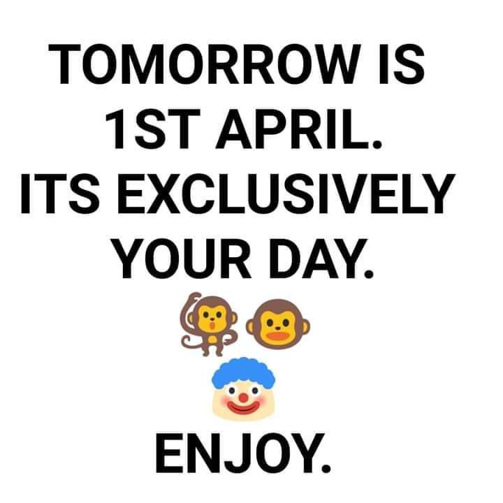 Tomorrow nobody should trolll #Pappu and his followers because its his day   #मज़ाकिया_कमल   #PappuDiwas #FirstApril #FoolsDaypic.twitter.com/PAobIeb5ZR