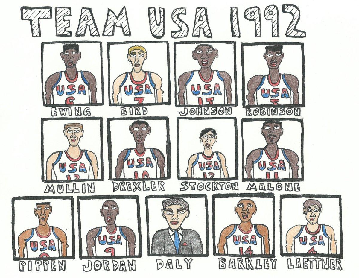 882442cfec6d 1992 United States men s Olympic basketball team  Jordan  Pippen  Barkley   ChuckDaly  Magic  Drexler  Robinson  Mullin  Stockton  Malone  Laettner   Ewing ...