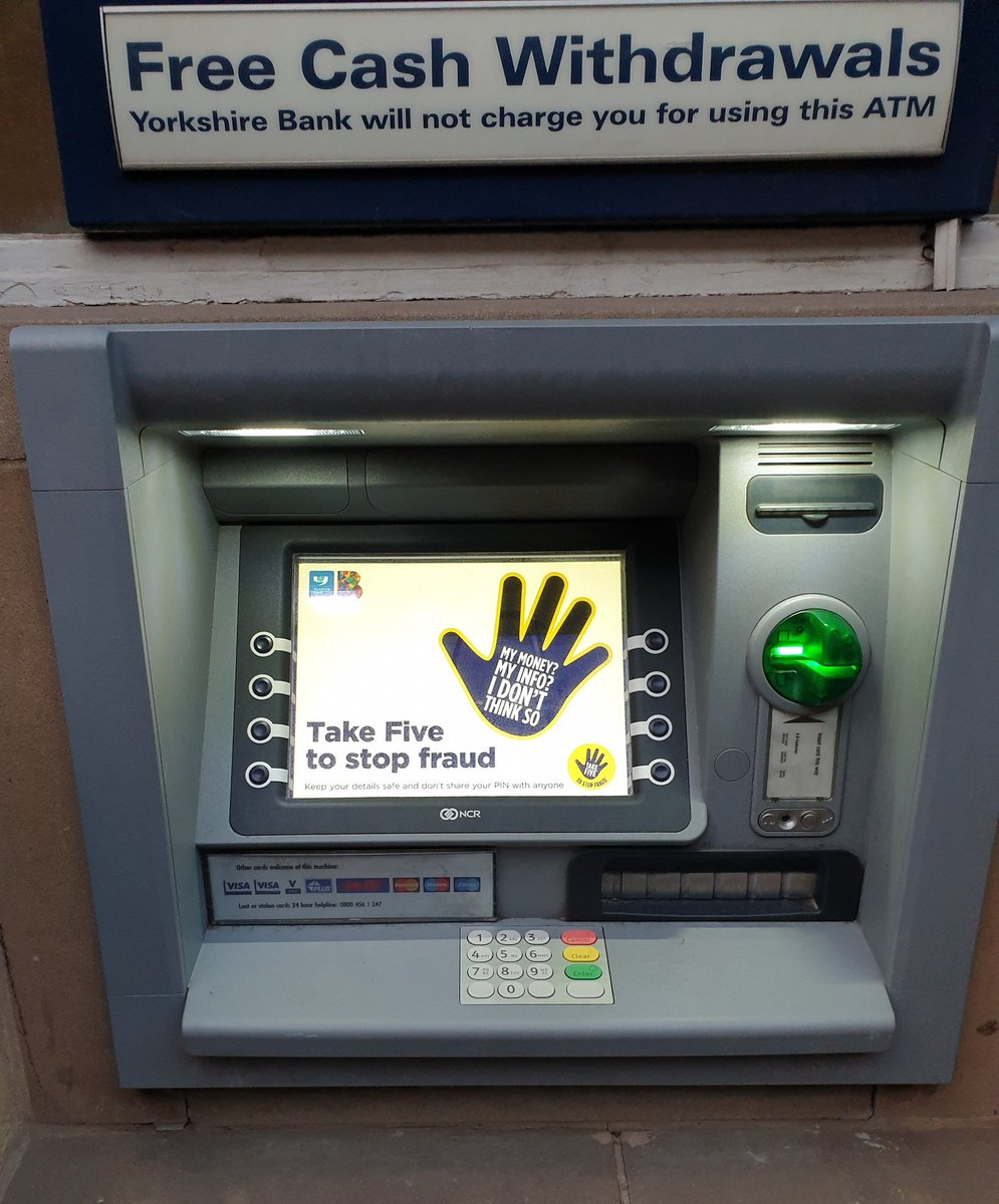 #TuesdayThoughts  Great to see #TakeFive being encouraged by a local bank in Coventry earlier on the way to #NHSCFA19.  Whoever you are, wherever you work or live. Using Take Five, #Verify & #Tell2 is key to avoiding #fraud impacting on your life.  #NHSFraud  Spot it Report it