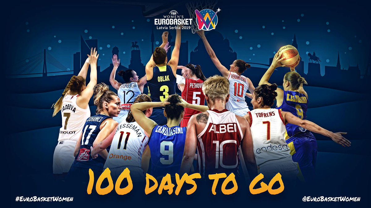 Count the jersey numbers 😉. 1⃣0⃣0⃣ days to go ⌛. #EuroBasketWomen  🎟 http://go.fiba.basketball/EBW_Tickets_2