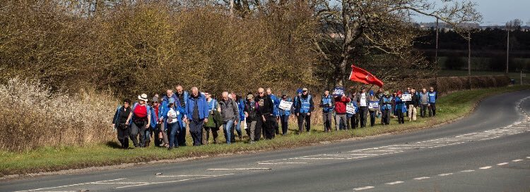 THESE poor saps have each paid £50 to #LeaveMeansLeave for the privilege of walking along a motorway which means about £2,000 for Farage, Tice and Banks to spaff up the wall on one boozy lunch in Mayfair   #MarchforLeave<br>http://pic.twitter.com/BLWwNIDWJN