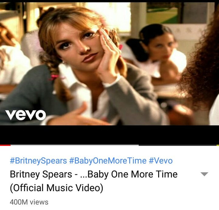 #BabyOneMoreTime @britneyspears Music Video Reaches 400 Million Views On YouTube/Vevo, Becoming Britney&#39;s First Video To Ever Reach 400 Million Views On Her Channel! #BritneySpears<br>http://pic.twitter.com/ncnCh5yR11