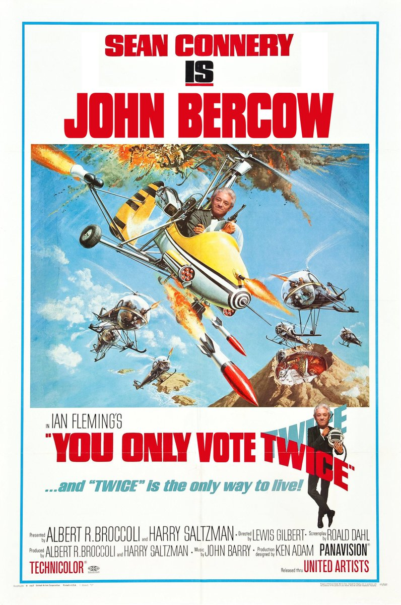 &quot;You Only Vote Twice&quot; - perhaps the greatest Brexit Film ever? Starring #JohnBercow #BrexitMayhem @ThePoke<br>http://pic.twitter.com/nAmj6qaem9