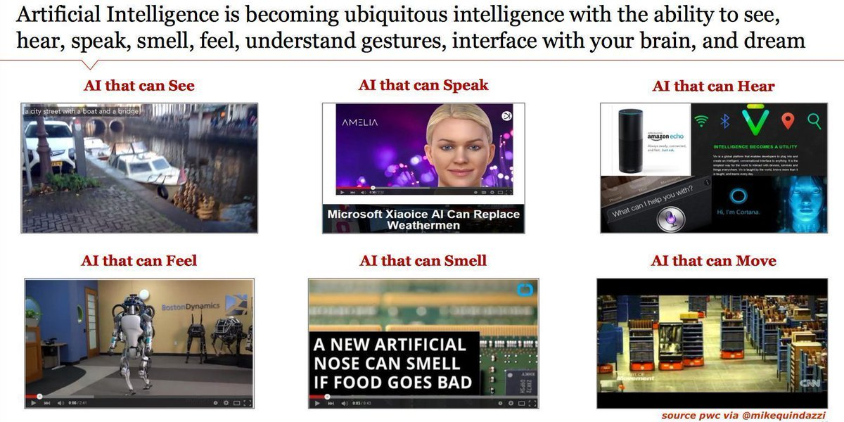 We all know #AI can move. But did you know it can do these human things too? 🤖  AI can see AI can speak AI can hear AI can feel AI can smell AI can understand gestures AI can dream AI can interface with your brain  (MT @MikeQuindazzi)  #MachineLearning #Robots #Robotics #4IR