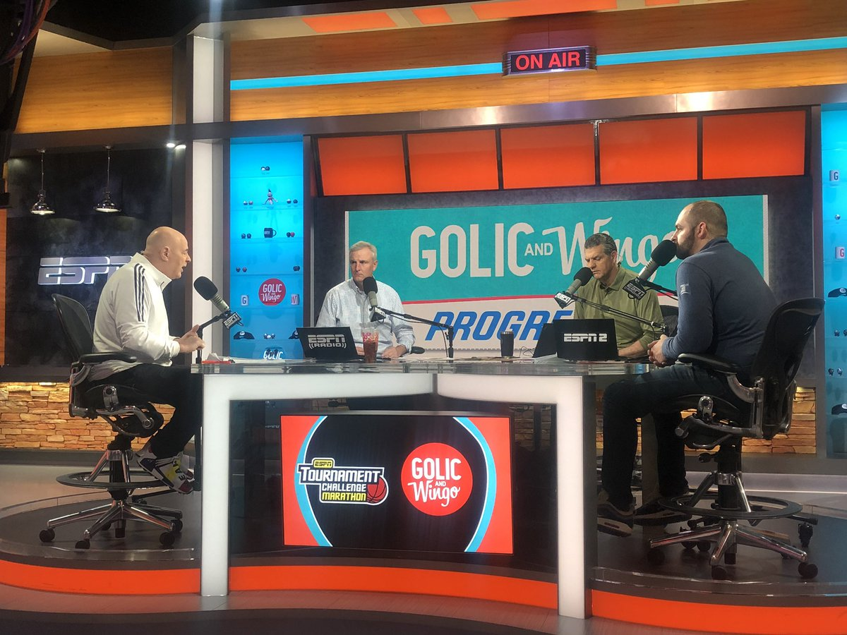 We can see @espngolic filling out brackets as @SethOnHoops gives out upsets