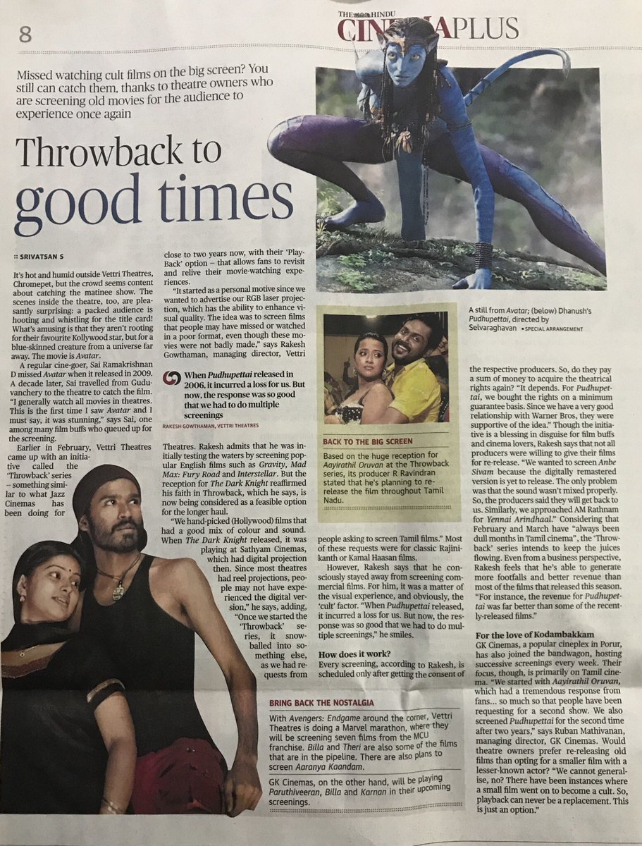 All bout #ThrowBackHitsInVettri !!!  Today @the_hindu metroplus   #Avatar #Pudhupettai #Billa #Theri