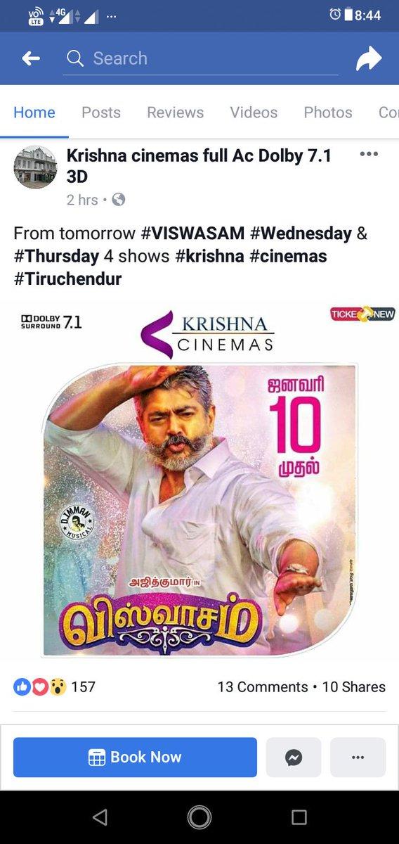 @rameshlaus @iamrajesh_sct Viswasam back in Krishna cinemas Tiruchendur from tomorrow <br>http://pic.twitter.com/yUWemS2djQ