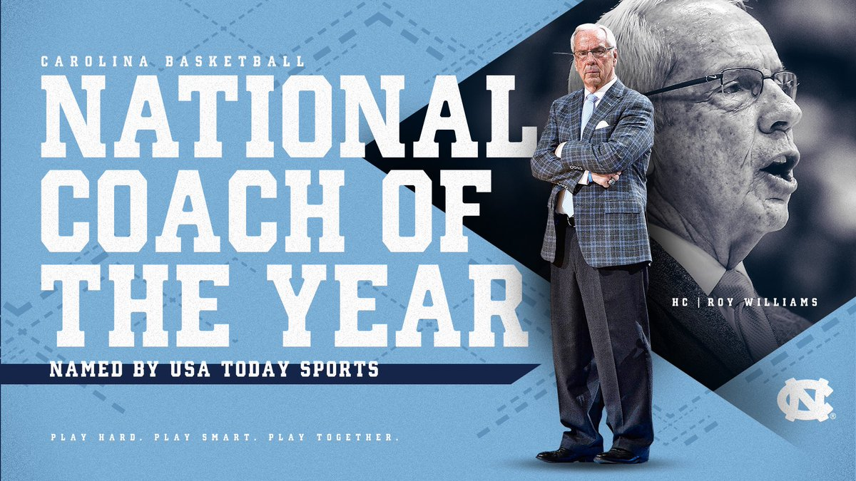 Our Coach = National COY   Roy Williams named USA Today Sports National Coach of the Year https://www.usatoday.com/story/sports/ncaab/2019/03/19/college-basketball-all-america-player-coach-march-madness/3207679002/ …  #CarolinaSZN